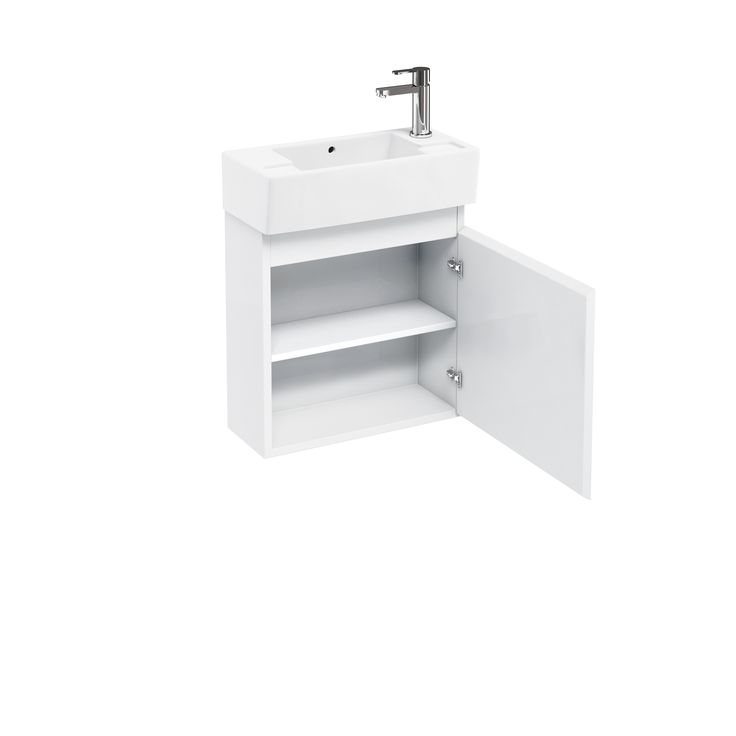 Code: AQ.1731 R10W       - Compact 250 wall - hung unit and cloakroom basin - white