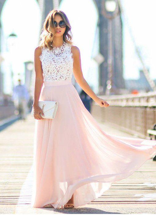 Super mädchenhafter Look mit rosa Chiffonrock und Spitzentop