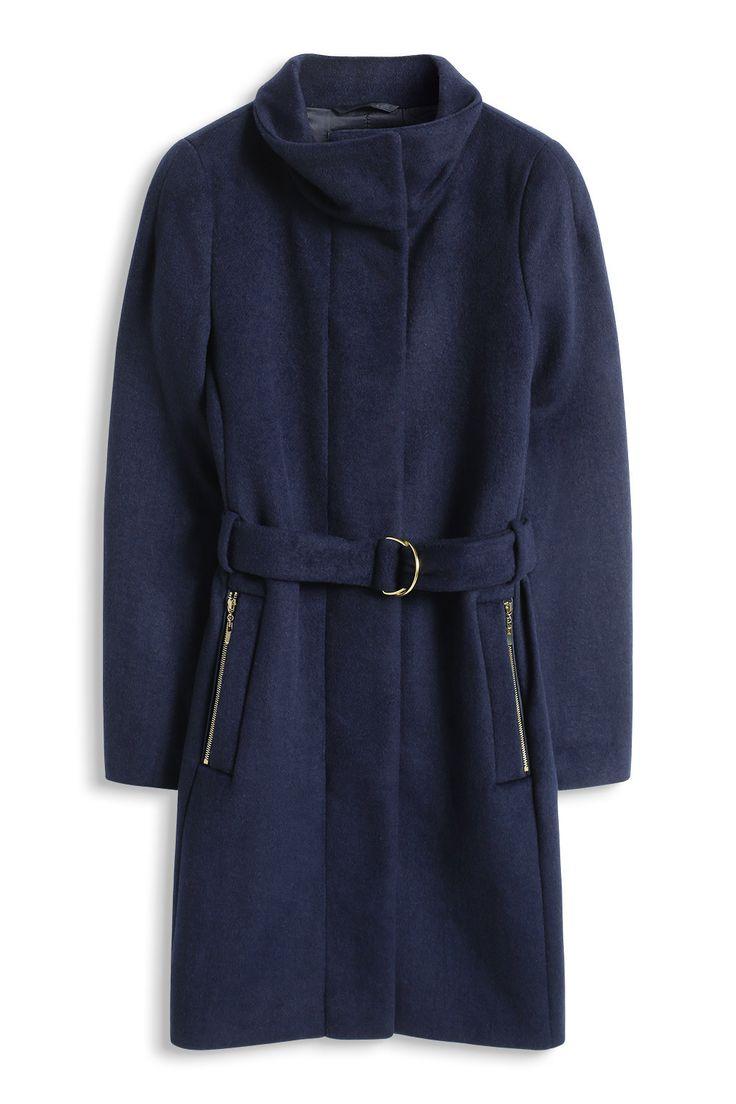 Esprit - Wollige mantel met opstaande kraag kopen in de online shop