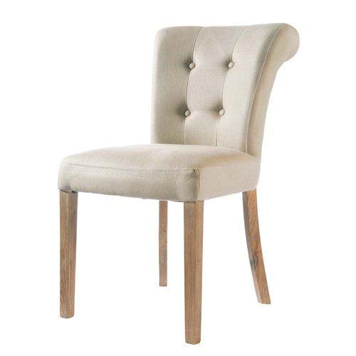 Gepolsterter Stuhl Aus Leinen, Ecru Boudoir Von Maisons Du Monde. Die  Gesamte Welt Der Möbel Und Dekorationen Finden Sie In Unserem Shop.