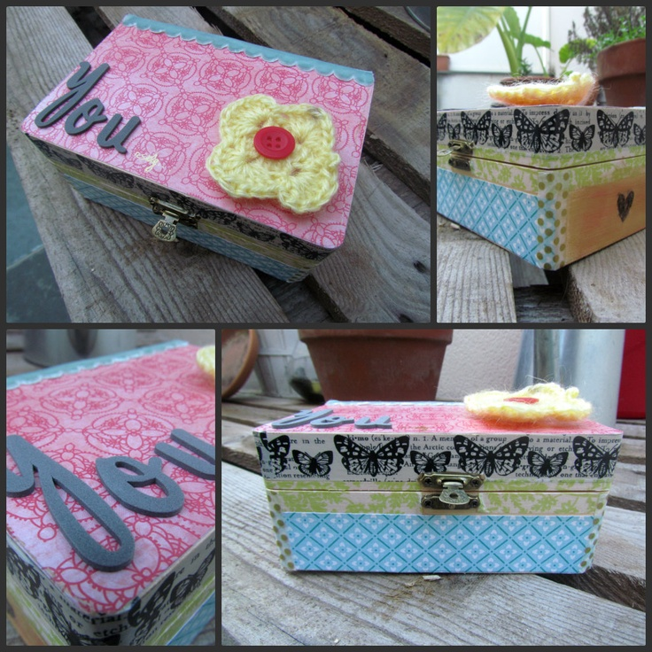 caja madera decorada scrapbook