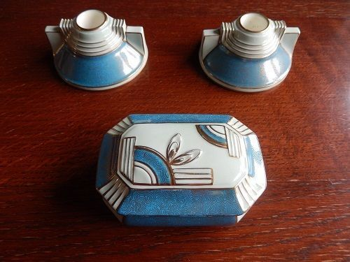 Tuscan Plant China - Art Deco Set 2 Candle Stick Holders plus Trinket Box c1936 in Pottery, Porcelain & Glass, Date-Lined Ceramics, Art Deco/ 1920-1939 | eBay