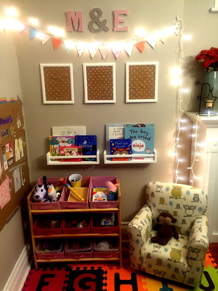 Create a toy and reading corner in your main living area. Maximize space in a small house.. Great when you don't have an extra room in your home for a play area! Separate toys and puzzles that have many pieces into separate bins with lids for easy clean up..