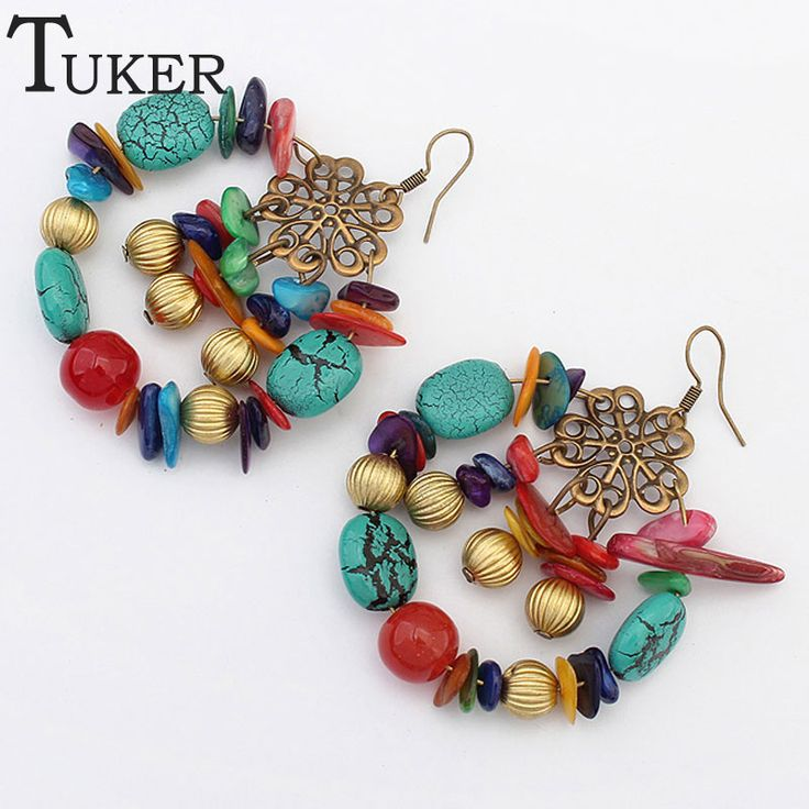 Antique Jewelry New Fashion Party Dresses Bohemia Style Color stones Beads Statement Drop Earrings Vintage Jewelry for Women