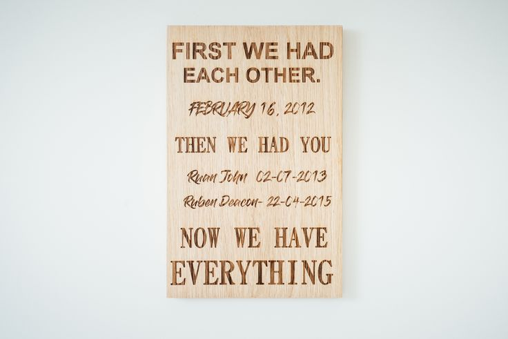 Personalised Now We Have Everything Oak Plaque  Engrave you and your family's cherished dates in to our beautiful solid oak wall hanging sign for you all to enjoy. A great addition to your kitchen as a lovely reminder for the whole family to appreciate.