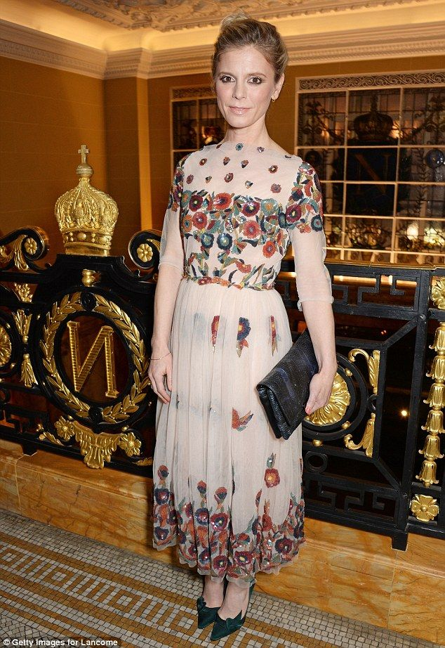 Emilia Fox arrived wearing a layered mesh dress with very intricate sequin detailing