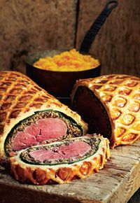 Fillet of red deer Wellington with haggis, girolles and bashed neeps