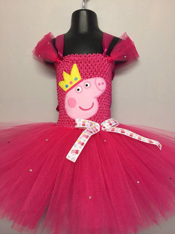 Peppa pig inspirado Vestido de tutu por crystalmagpies en Etsy