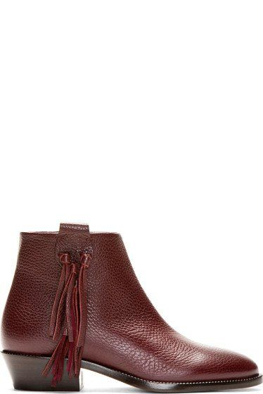 Valentino Oxblood Tasseled Pebble Leather Ankle Boots, 50% off. http://