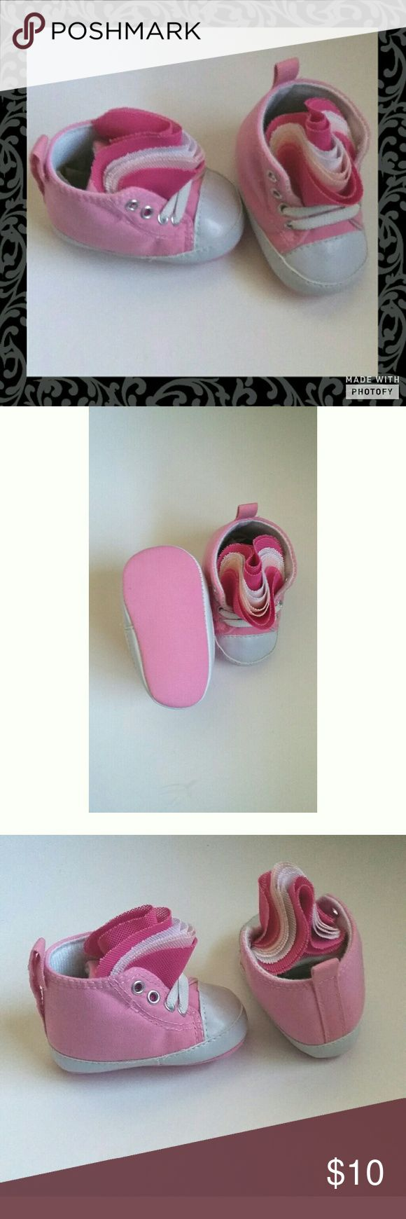 Pink High Top Rising Star Crib Shoes Light pink high top crib shoes. Tule like material flap with different shades of pink. Size 3 to 6 months. In excellent used condition. Light comfortable material for baby feet. Rising Star  Shoes