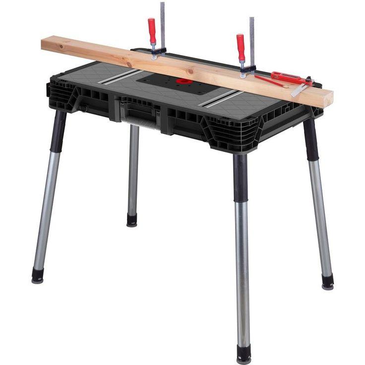 Husky 1 8 Ft X 3 Ft Portable Jobsite Workbench 225047 The Home Depot Workbench Portable Workbench Workbench Table