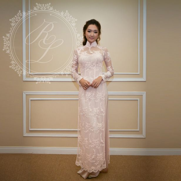 light pink lace ao dai