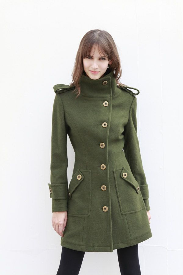 Army Green Fitted Cashmere Coat Military Jacket Winter Wool Coat Women