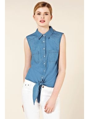 Oasis Oasis Denim sleeveless tie front shirt Denim - House of Fraser #destinationdenim #blue #jeans #denim #houseoffraser