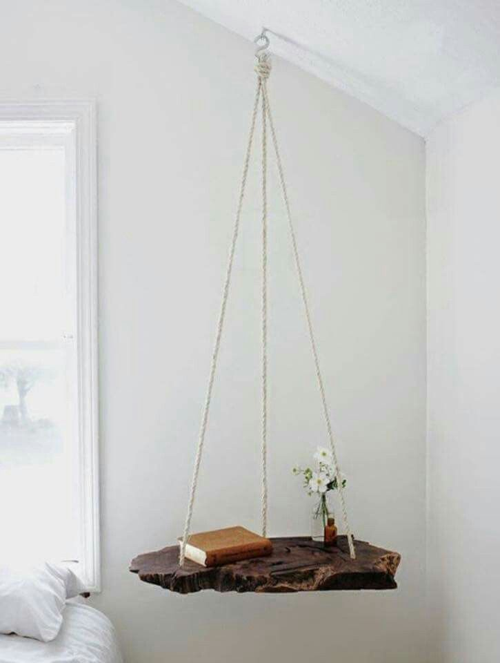 This is a great idea for a bedside table, especially if the bed is on an angle and you are limited on space beside the bed.