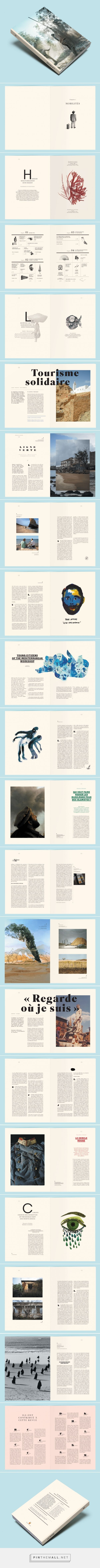 Pretty much LOVE everything about this editorial design. Layout, art direction, illustrative components, drop caps...   Editorial Design Inspiration: La Villa Mediterranée by Violaine & Jeremy
