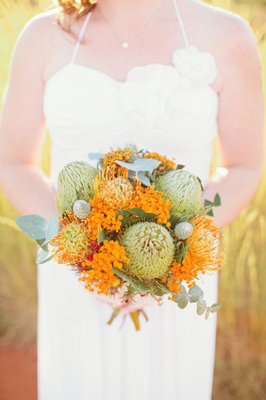 Burnt Orange, Saffron Yellow and Succulent Green Bridal Bouquet ~ Charntelle and Michael's Sunrise Uluru Wedding