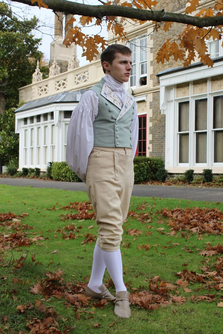 Design based on a typical 1790′s cut and embellished with hand embroidery. The embroidery design is based on 18th century silk designs. The waistcoat is double breasted with buttons, wide lapels and jiggers in the back.