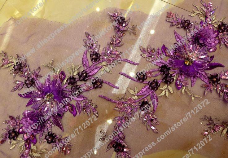 >> Click to Buy << Purple 3D flowers handmade dress fabric beaded sequins 3D evening wedding dress fabrics fashion high qualyty fabric 1 yard #Affiliate