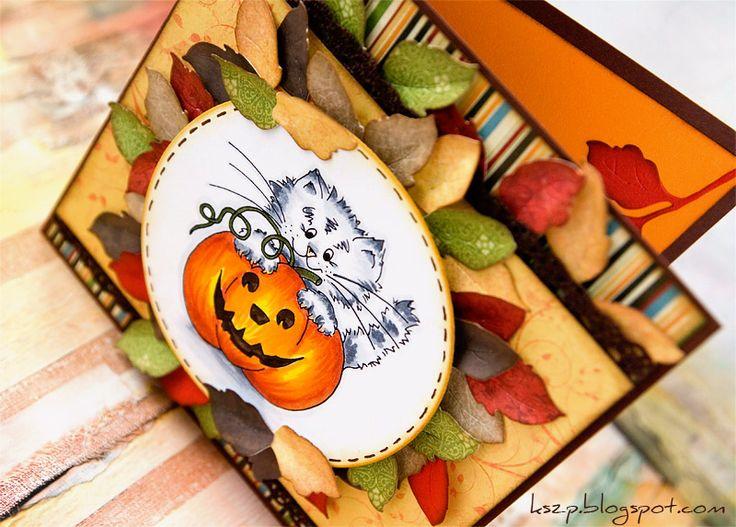 Dziś pokażę jesienną kartkę z dynią, jaką wykonałam w ramach inspiracji dla sklepu digi-scrap.pl .     Wyszedł słodki kociak na diabelskiej ...