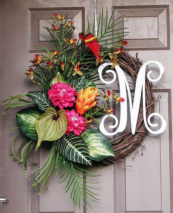Summer Wreath Tropical Wreath Tropical Monogram Wreath Front Door