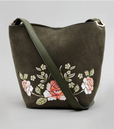 Suede Embroidered Bucket Bag from New Look £22,99