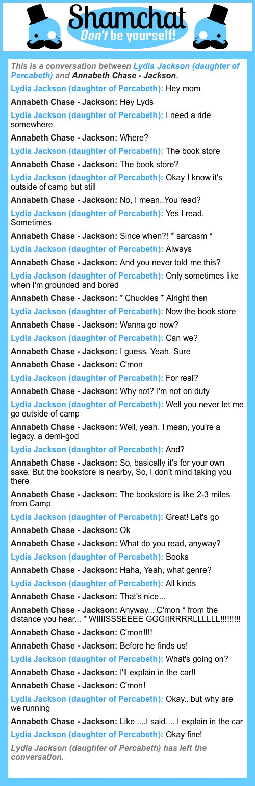 A conversation between Annabeth Chase - Jackson and Lydia Jackson (daughter of Percabeth)