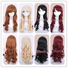 Hot! 55-60cm long Classic multi-colors wave Anime cosplay wig ZY06+free wig cap