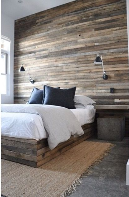 Salvaged Plank Wood Plank Bed Accent Wall Http Www