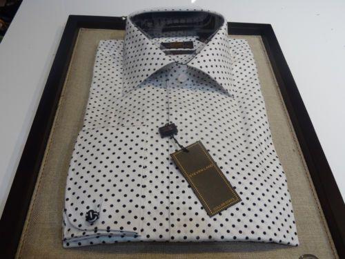 Steven Land Dress Shirt White Black Polka Dot French Cuff