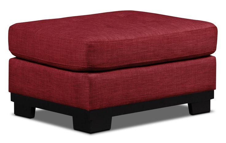 Oakdale Linen-Like Fabric Ottoman – Cherry | The Brick