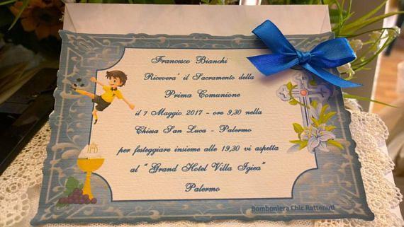 Invito Prima Comunione Personalizzato In Cartoncino Pregiato Misura 12x18 Completo Di Busta Traforata Per Le Personalizzazione Invitations Messages Communion