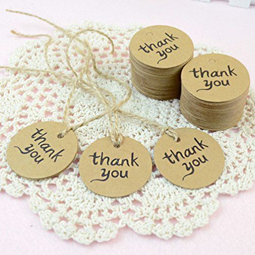 Outop 100PCS Thank You Wedding Brown Kraft Paper Tag Bonbonniere Favor Gift Tags With Jute Twines Outop http://www.amazon.com/dp/B00ISHMAJ6/ref=cm_sw_r_pi_dp_BjEZwb1VY0X6S