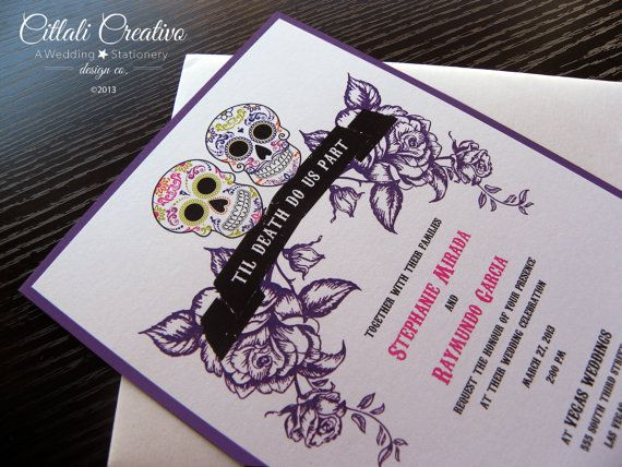 Awesome Purple White Black And Pink Wedding Invitations For Day Of The Dead