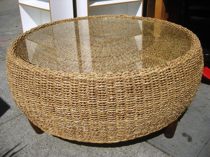 Wicker Coffee Table With Gl Top