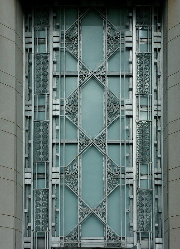 Images of the Seattle Asian Art Museum by Carl Gould - Art Deco aluminum window screen on the front of the building.