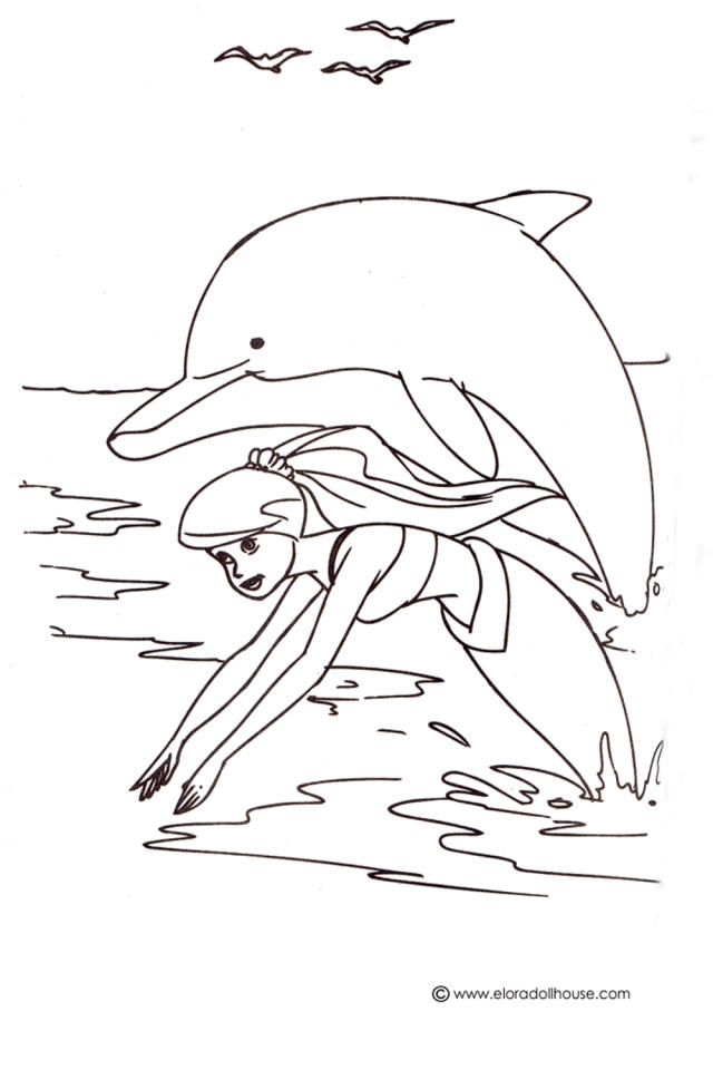 Simple Mermaid Dolphin Coloring Pages | Dolphin coloring ...