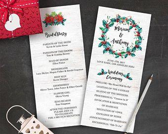 christmas wedding program printable winter wedding programs