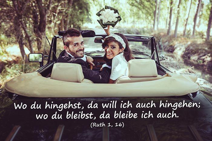 Bei der Hochzeit werden sehr gerne biblische Trausprüche gewählt. Sucht euch einen der biblischen Trausprüche aus dem alten Testament für eure Trauung aus.