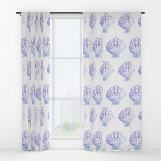 Purple & Blue Ombre Seashell Window Curtains | Mermaid Bedroom | Ocean Bedroom | Mermaid Curtains | Beach Curtains | Girls Beach Bedroom | Seashell Curtains