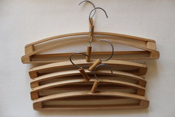 6 Soviet Wooden Cloth Hangers, Vintage Rustic Clothes Hangers Set, Made in USSR, 1970s.