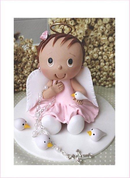 Enfeite de bolo batismo anjo menina
