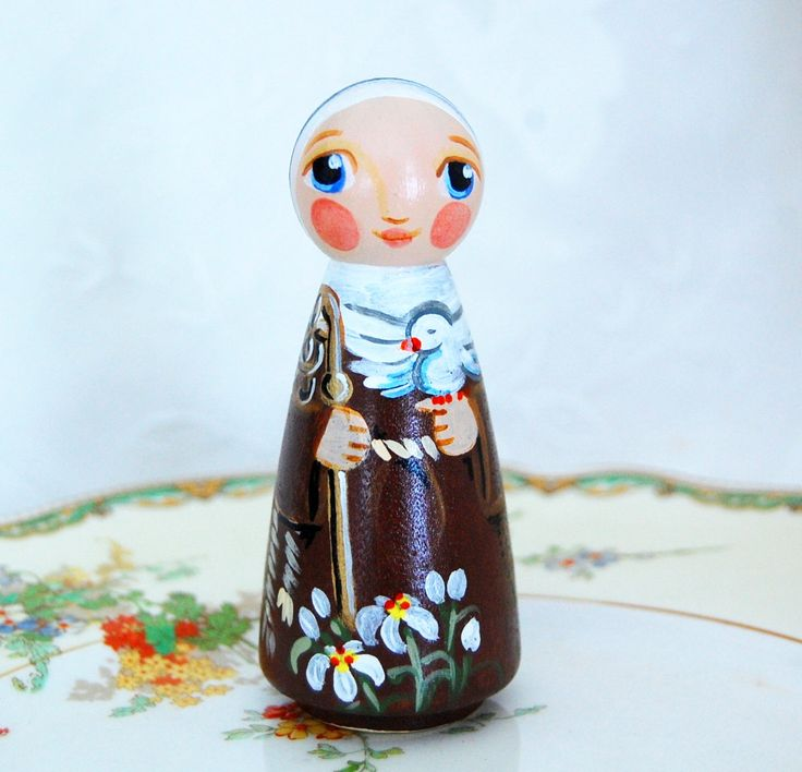 St Colette Catholic Saint Doll - Wooden Toy - Made to Order by SaintAnneStudio on Etsy https://www.etsy.com/listing/70329135/st-colette-catholic-saint-doll-wooden