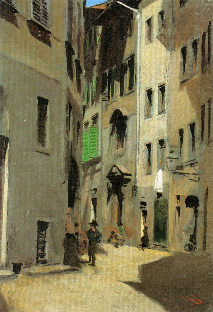 Telemaco Signorini, Via Torta, ca. 1870 - MACCHIAIOLO - The movement grew from a small group of artists, many of whom had been revolutionaries in the uprisings of 1848. In the late 1850s, the artists met regularly at the Caffè Michelangiolo in Florence to discuss art and politics. These idealistic young men, dissatisfied with the art of the academies, shared a wish to reinvigorate Italian art by emulating the bold tonal structure they admired in such old masters as Rembrandt, Caravaggio ...