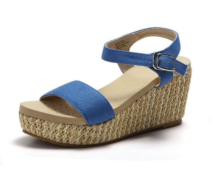 Sweetheart Women Diba Wales Striped Wedge Sandal White/Blue - C2D2349827