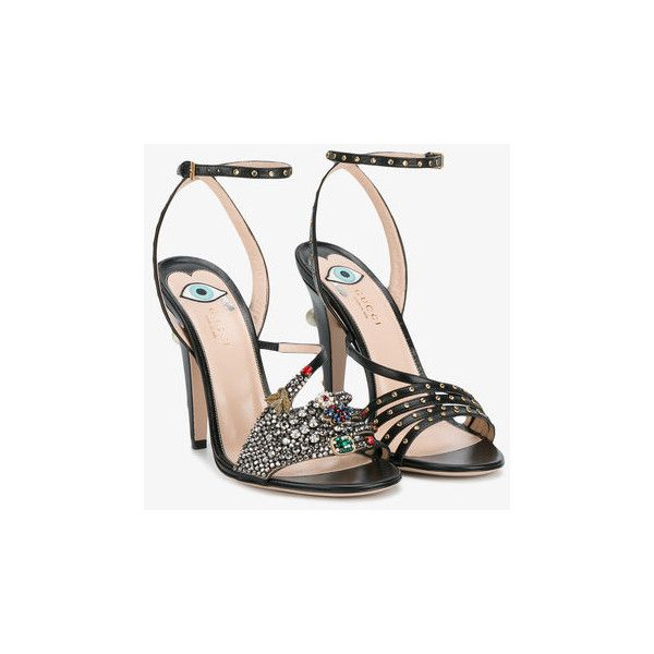 Gucci Gucci Crystal Hand Applique Sandals ($1,890) ❤ liked on Polyvore featuring shoes, sandals, high heeled footwear, high heel shoes, evening shoes, black shoes and black evening shoes