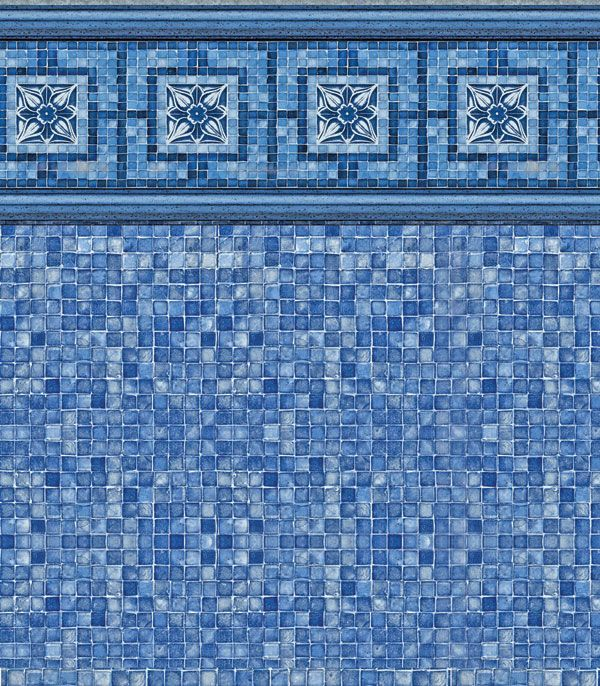 blue mosaic pool liner with no border