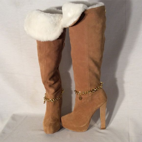 Mariah Carey caramel suede boots Mariah Carey caramel suede boots with white foldable fur trim for good used condition heel height 5 inches high 15 inches 16 inches Mariah Carey Shoes Over the Knee Boots