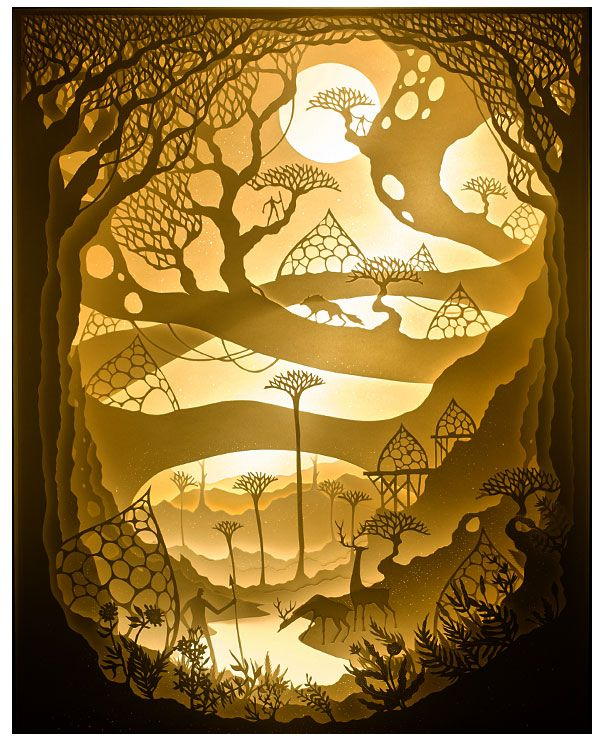 Hari & Deepti – Tranquility, 12 x 16 x 4 inches, 2015. Hand cut paper inside a white shadowbox illuminated with LED.