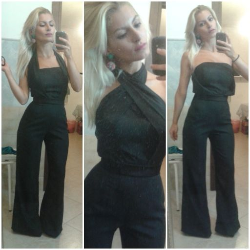 Trouser Suit -  three ways to be worn - Dressmaking Black trouser cotton. Tailored